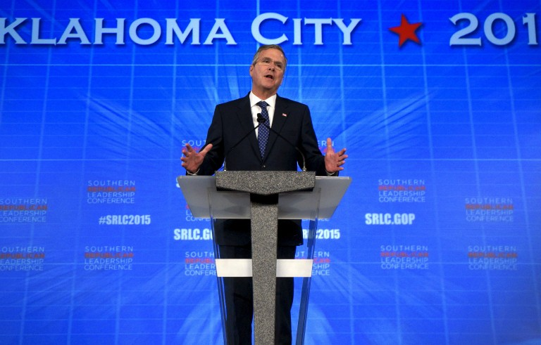 Former Florida Governor Jeb Bush, potential Republican presidential candidate, speaks at the Southern Republican Leadership Conference in Oklahoma City