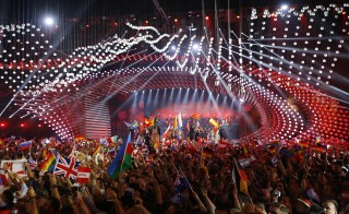 General view shows the stage with participants during the opening ceremony of the final of the 60th annual Eurovision Song Contest in Vienna