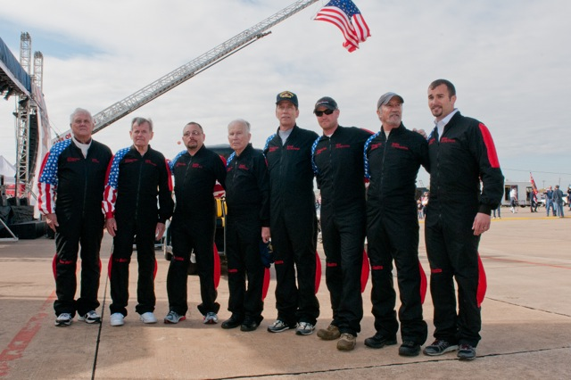 "2013 jump team excluding Ryan. From left to right the participants are Art Black (Navy, WWII), Richard ""Dick"" Agnew (Army, Korean War), John Walters III (FDNY Rescue 1), Peter Bielskis (Army, WWII), Tom Buning (Army, Desert Storm/Desert Shield), T.Y. Yount ( Marine Corps, Operation Iraqi Freedom), Tony Bandiera (Army, Vietnam War), Salvatore Giunta (Army, Operation Enduring Freedom - Afghanistan). Credit: Jerry McClure."