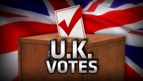 UK VOTES monitor united kongdom flag ballot box
