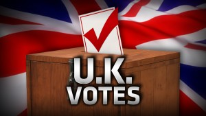 UK VOTES monitor united kongdom flag ballot box