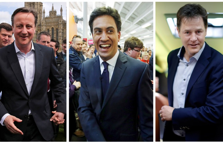 Prime Minister David Cameron from the Conservative Party (left), Labor Party leader Ed Miliband (center). and Liberal Democrat leader Nick Clegg are competing in the 2015 British general election. Photos by Dan Kitwood/pool via Reuters and Peter Nicholls/Reuters