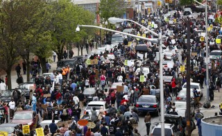 Demonstrators flood the streets of Baltimore, Maryland
