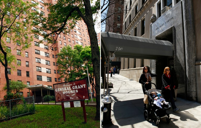 The have-nots and the haves: In the U.S., the zip code you were born in, for example Harlem (10027) or the Upper East Side (10021), has a huge influence on your future income. Photos by Eduardo Munoz/Reuters