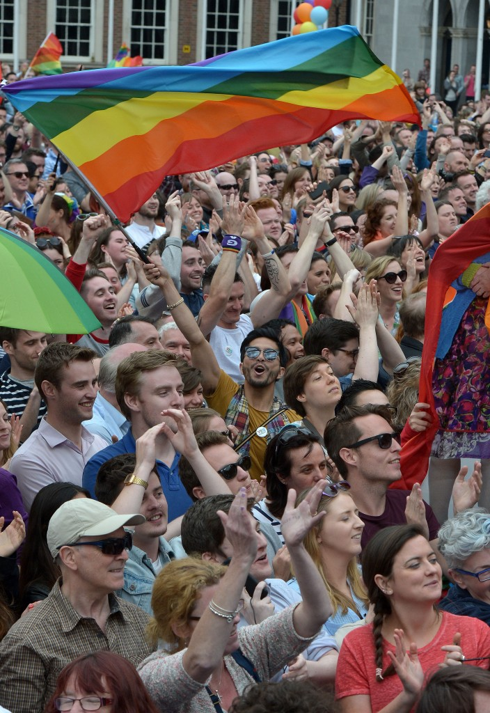 Thousands of people celebrate in Dublin Castle Square as the result of the referendum is relayed on May 23, 2015 in Dublin, Ireland. Photo by Charles McQuillan/Getty Images.