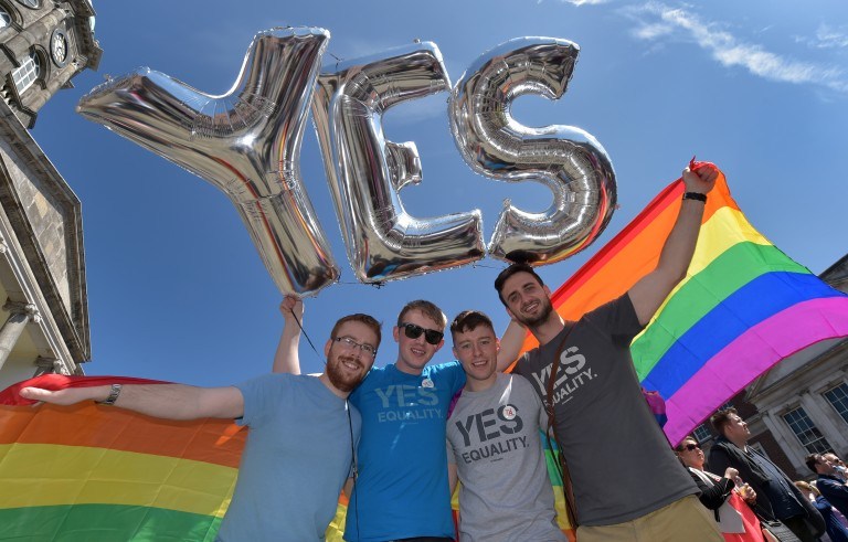 Supporters in favor of same-sex marriage pose for a photograph as thousands gather in Dublin Castle square awaiting the referendum vote outcome on May 23, 2015 in Dublin, Ireland.  Photo by Charles McQuillan/Getty Images.