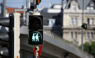 Ahead of this year's Eurovision Song Contest, Vienna outfitted dozens of crosswalk signals with new figures of same-sex couples with hearts. Photo courtesy of Vienna Lights