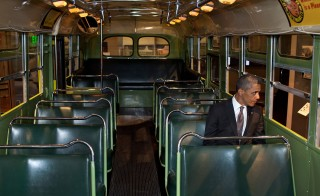Michigan, April 18, 2012. Sitting on the famed Rosa Parks bus at the Henry Ford Museum in Dearborn. Photo by Pete Souza/White House
