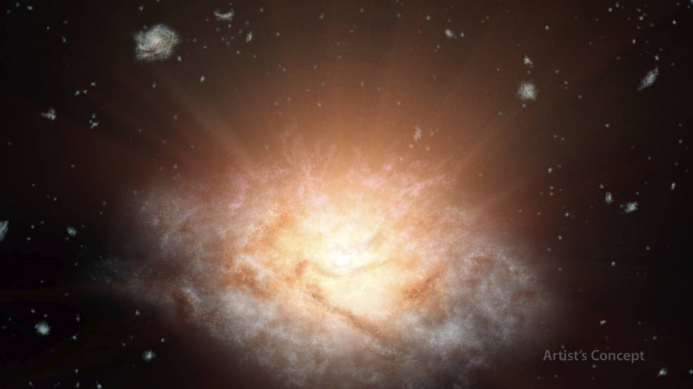 This artist's concept depicts the current record holder for the most luminous galaxy in the universe. The galaxy, WISE J224607.57-052635.0, is erupting with light equal to more than 300 trillion suns. It was discovered using data from NASA's WISE mission. Credits: NASA/JPL-Caltech
