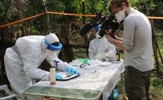 Miles O'Brien, videographer Cameron Hickey, pictured here, and team traveled to Sierra Leone to report on the science, medicine and human spirit behind the efforts to stop the disease. Photo by Miles O'Brien