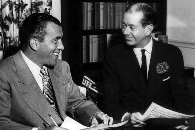 """Ed Sullivan, left, and Cole Porter from Sullivan's first television program """"Toast of the Town"""" in 1952. Photo by CBS Television via Wikimedia"""