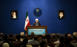 "Iranian President Hassan Rouhani speaks during his press conference in Tehran on June 13, 2015. There are still ""many differences over details"" of a nuclear deal Iran and world powers are trying to conclude by June 30, Iranian President Hassan Rouhani said.  AFP PHOTO / BEHROUZ MEHRI        (Photo credit should read BEHROUZ MEHRI/AFP/Getty Images)"