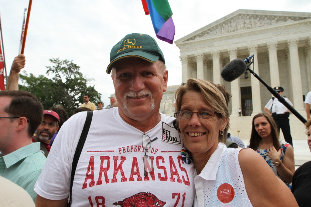 Wes Givens and Jane Lanning celebrate the Supreme Court decision on marriage equality at the Supreme Court on June 26, 2015. (Photo by Corinne Segal)