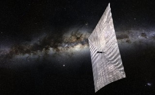 An artist's rendition of the LightSail sun-propelled mini-satellite floating through space. Photo by The Planetary Society
