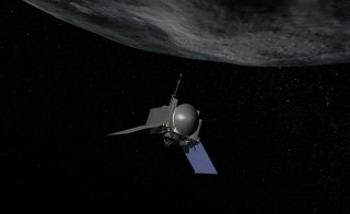 This artist's rendering illustrates how the spacecraft OSIRIS-REx will extend its robotic arm, TAGSAM, to vacuum up a sample from the asteroid Bennu. Photo by National Aeronautics and Space Administration