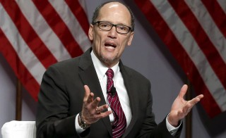 "Weighing in on the Supreme Court's decision to hear a dispute over union fees in the public sector, Labor Secretary Thomas Perez told the NewsHour's Judy Woodruff that states have appropriately said that you can require people to pay their ""fair share."" Photo by Yuri Gripas/Reuters"