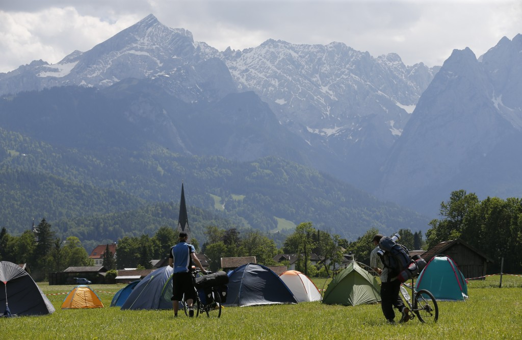 G7 opponents settle in a tent camp near Garmisch-Partenkirchen, southern Germany, on June 3, ahead of the G7 economic summit. Photo by Wolfgang Rattay/Reuters