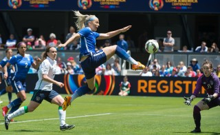 May 10, 2015; San Jose, CA, USA; USA defender Julie Johnston (19, center) scores a goal past Ireland goalkeeper Niamh Reid-Burke (16) during the second half at Avaya Stadium. USA defeated Ireland 3-0. Mandatory Credit: Kyle Terada-USA TODAY Sports - RTX1CD9O