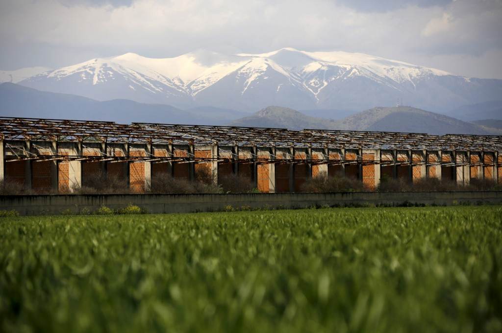 A deserted industrial building, part of the local customs bureau, is seen in front of the snowcapped Mount Olympus near the town of Larissa in Thessaly region, Greece April 22, 2015. Photo by Yannis Behrakis/Reuters