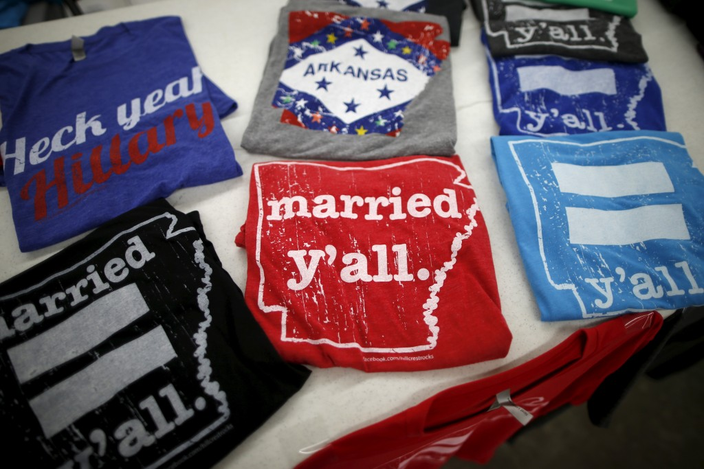 Equality t-shirts for sale at the International Gay Rodeo Association's Rodeo In the Rock in Little Rock, Arkansas, April 24, 2015. Photo by Lucy Nicholson/Reuters