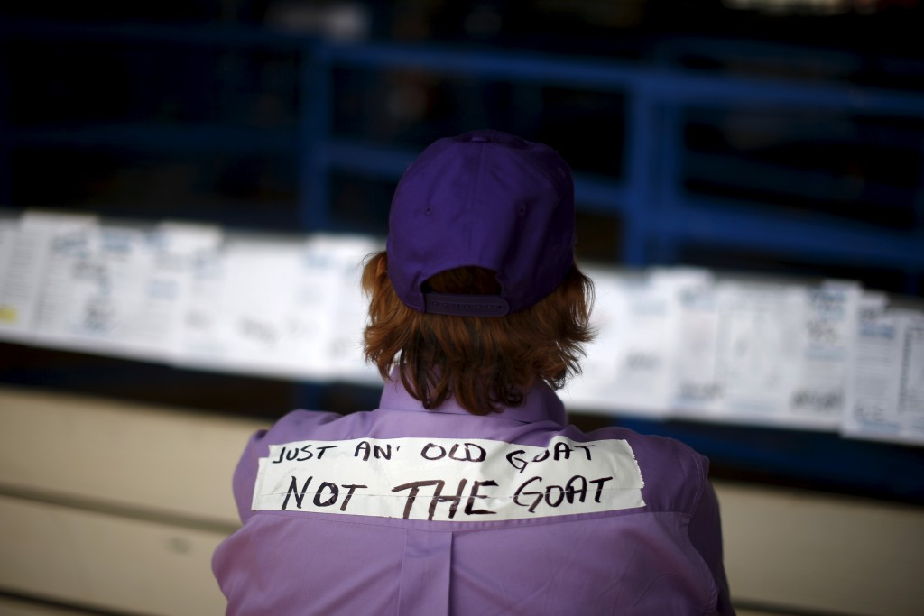 A woman waits to compete in the Goat Dressing event at the International Gay Rodeo Association's Rodeo In the Rock in Little Rock, Arkansas, April 25, 2015. Photo by Lucy Nicholson/Reuters