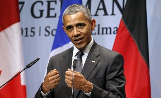 U.S. President Barack Obama holds a news conference at the conclusion of the  G7 Summit in the Bavarian town of Kruen, Germany, Monday. Photo by Kevin Lamarque/Reuters