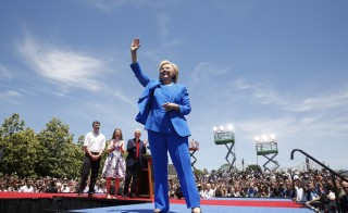"U.S. Democratic presidential candidate Hillary Clinton is joined onstage by her husband former President Bill Clinton, her daughter Cheslea and her husband Marc Mezvinsky (L)  after she delivered her ""official launch speech"" at a campaign kick off rally in Franklin D. Roosevelt Four Freedoms Park on Roosevelt Island in New York City, June 13, 2015. REUTERS/Lucas Jackson  - RTX1GD35"