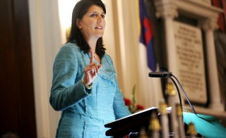 South Carolina Gov. Nikki Haley speaks during a prayer vigil held at Morris Brown AME Church in Charleston, South Carolina, on June 18, a day after nine people were shot at a historic African-American church in Charleston. Photo by Grace Beahm/Pool via Reuters