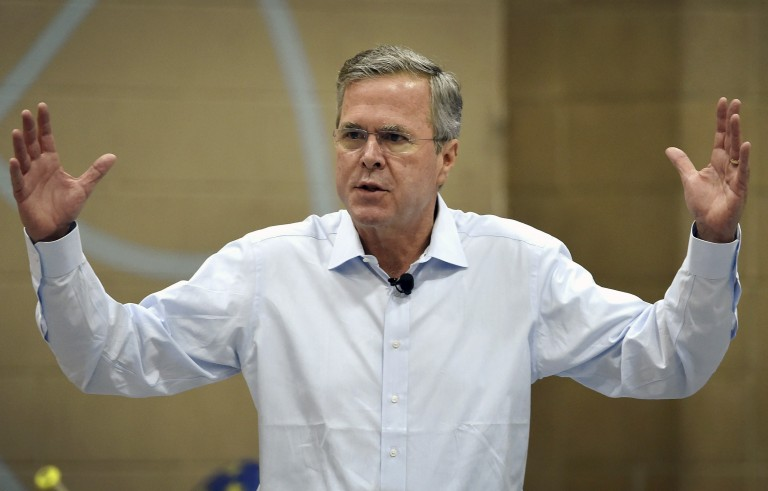 Republican presidential candidate and former Florida Governor Jeb Bush gestures speaks at a town hall meeting in Henderson, Nevada June 27, 2015. Bush said he doesn't think new gun control measures are the way to prevent mass shootings. Photo by David Becker/Reuters