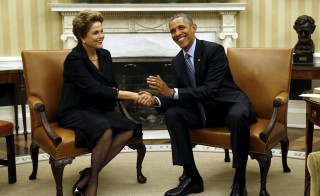 U.S. President Barack Obama meets with Brazil's President Dilma Rousseff in the Oval Office of the White House in Washington June 30, 2015. Photo by Kevin Lamarque/Reuters
