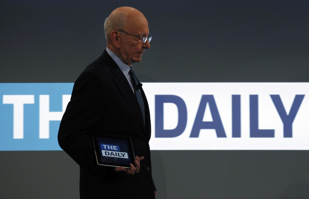 "File photo of News Corp CEO Rupert Murdoch unveiling News Cooperation's iPad news publication ""The Daily"" in New York Feb. 2, 2011. Photo by Brendan McDermid/Reuters"