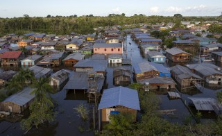 View of the area flooded by the rising Rio Solimoes, one of the two main branches of the Amazon River, in Anama, Amazonas State, Brazil on June 3, 2015. Photo by Bruno Kelly/Reuters