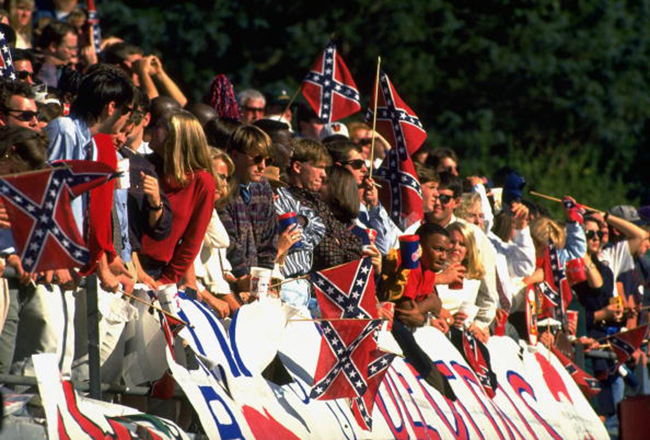 Mississippi fans in stands with confederate flags during game vs Alabama, Oxford, MS in 1993. Photo by Patrick Murphy-Racey/Sports Illustrated/Getty Images