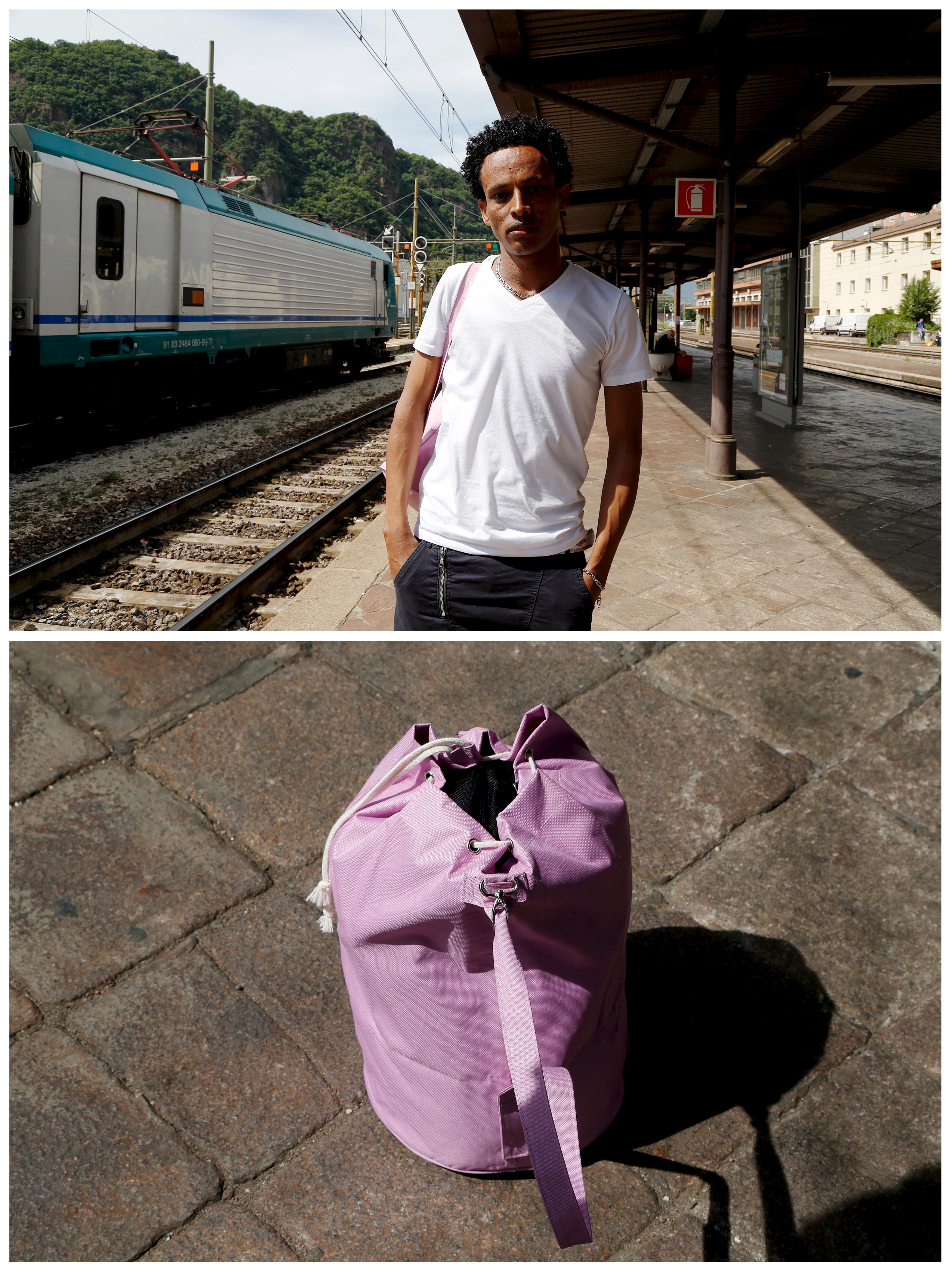 Eritrean migrant Dejen Asefaw, 24, waits with his bag to take a train in Bolzano, Italy, to the Brenner Alpine pass that marks the Italy-Austria border on May 28, 2015. Asefaw left Eritrea because he was drafted into the national military service, assigned to teach high school, and paid the equivalent of $5 per week. He said he could not survive on such a small salary. Asefaw wants to gain asylum in Sweden, where his brother lives, and get a job so that he can send money home. Photo by Stefano Rellandini/Reuters