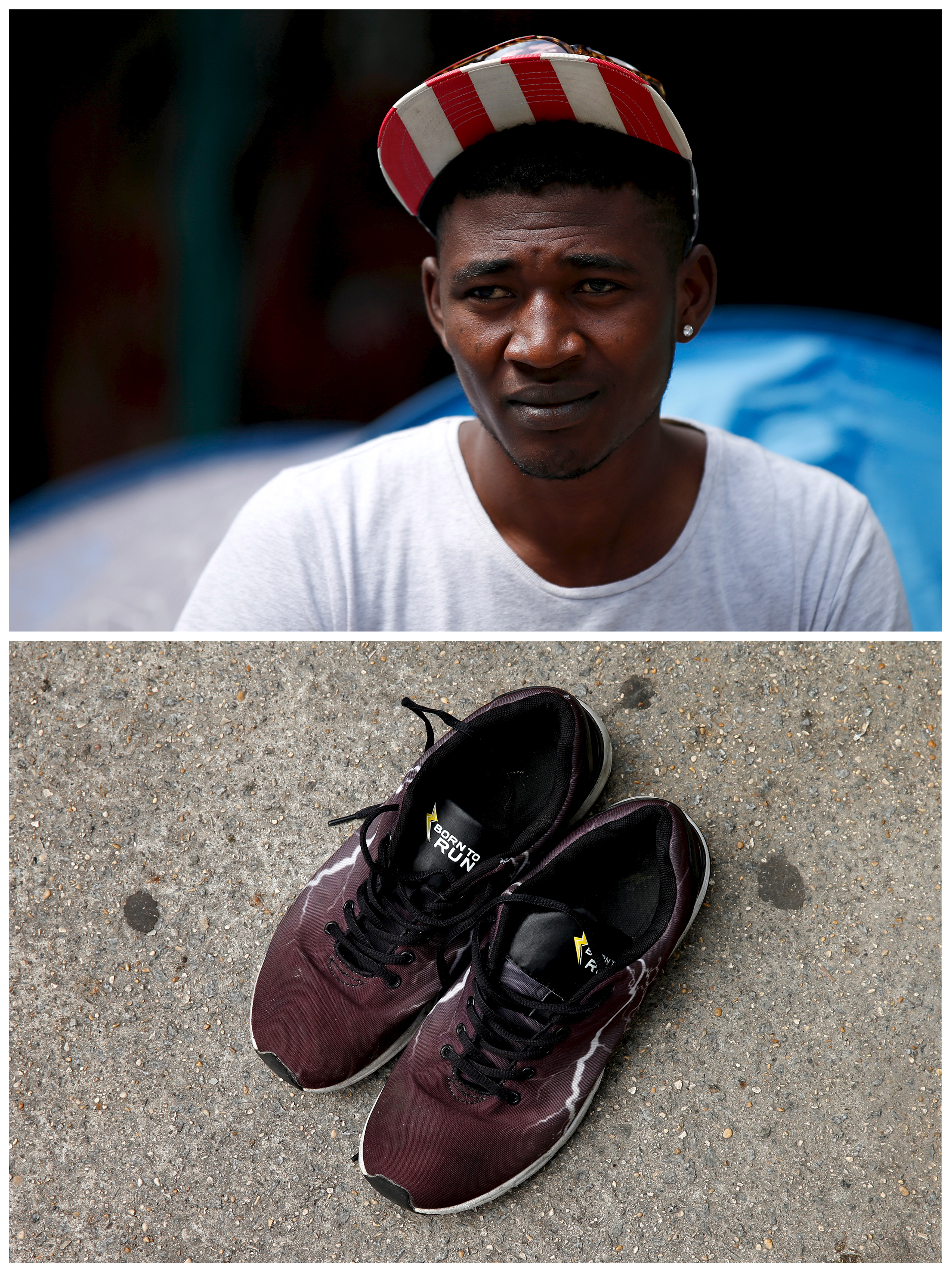 Abdel Bachir, 20, a migrant from Chad with a pair of his shoes at a makeshift camp where he lives in front of the Austerlitz train station in the southeast of Paris, France, on May 28, 2015. Photo by Benoit Tessier/Reuters