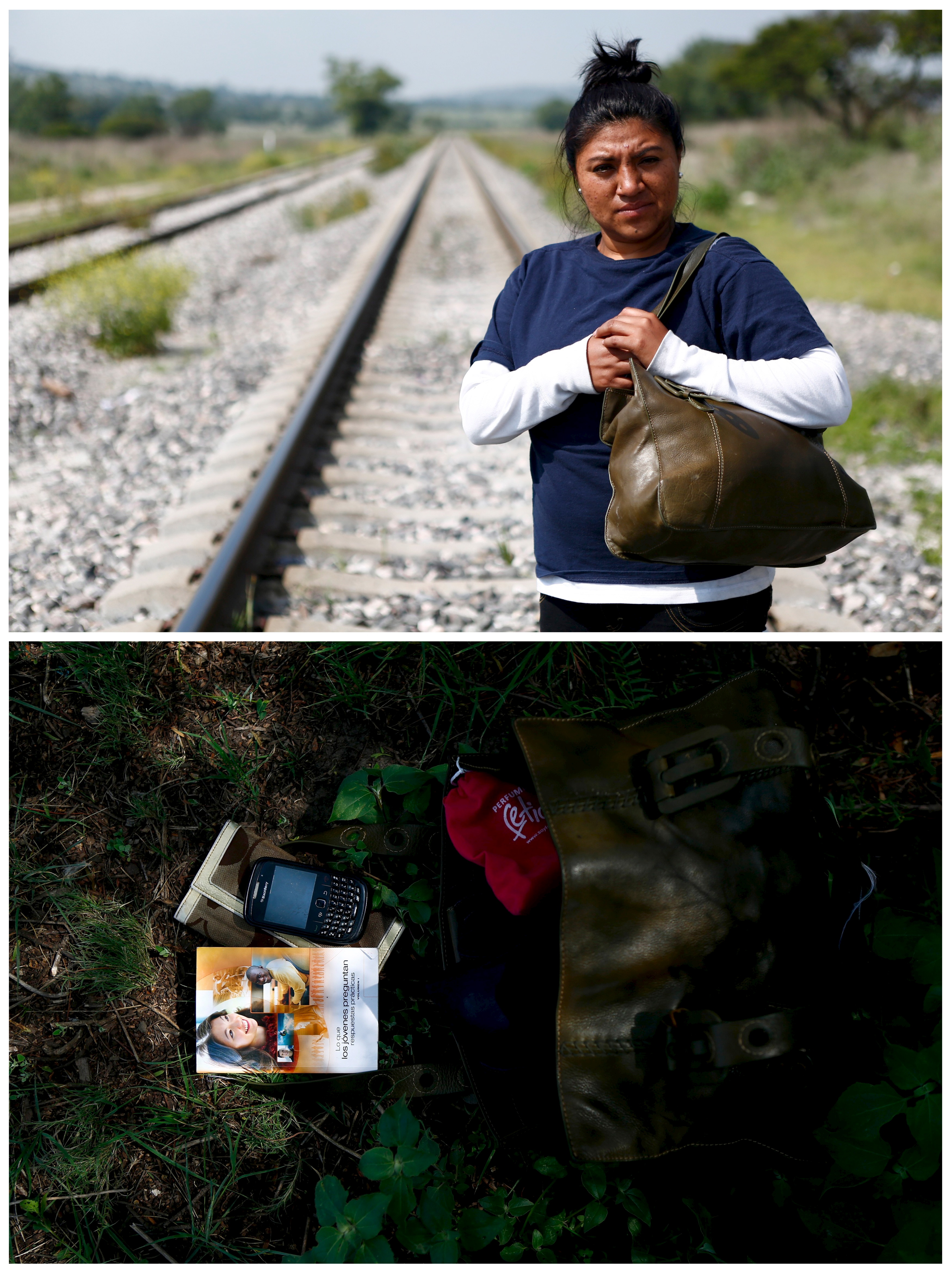Guatemalan immigrant Jennifer Mendez, 27, tries to board a train heading to the U.S.-Mexico border in Huehuetoca, Mexico with her possessions: a book, a cell phone and a wallet, on June 2, 2015. Mendez, was a surgeon in Guatemala, but left with the dream of studying in the United States. Photo by Edgard Garrido/Reuters