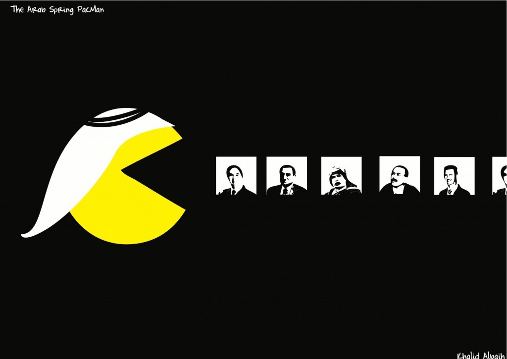 "The ""Arab Spring PacMan"" depicts the fate of the following Arab dictators, left to right: Zine El Abidine Ben Ali (Tunisia), Hosni Mubarak (Egypt), Mummar Gaddafi (Libya), Ali Abdullah Saleh (Yemen) and Bashar al-Assad (Syria). Cartoon by Khalid Albaih"