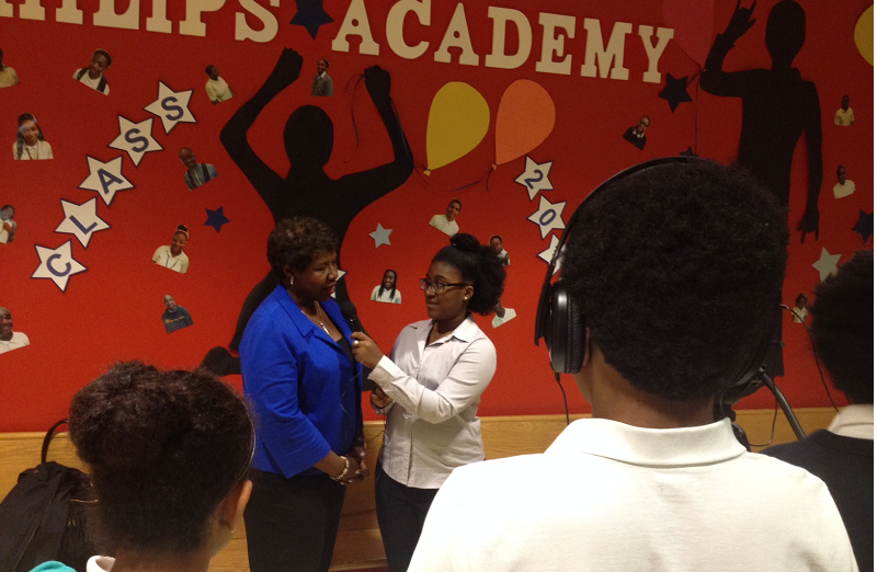 Sophie Sabin interviews Gwen Ifill on June 18, 2015 at Philip's Academy Charter School in Newark, NJ.