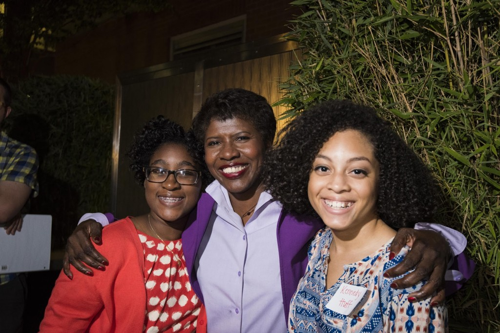 Sophie Sabin, Gwen Ifill and Kennedy Huff meet during PBS NewsHour's Student Reporting Labs conference in August 2014. Photo by Seth Ram.