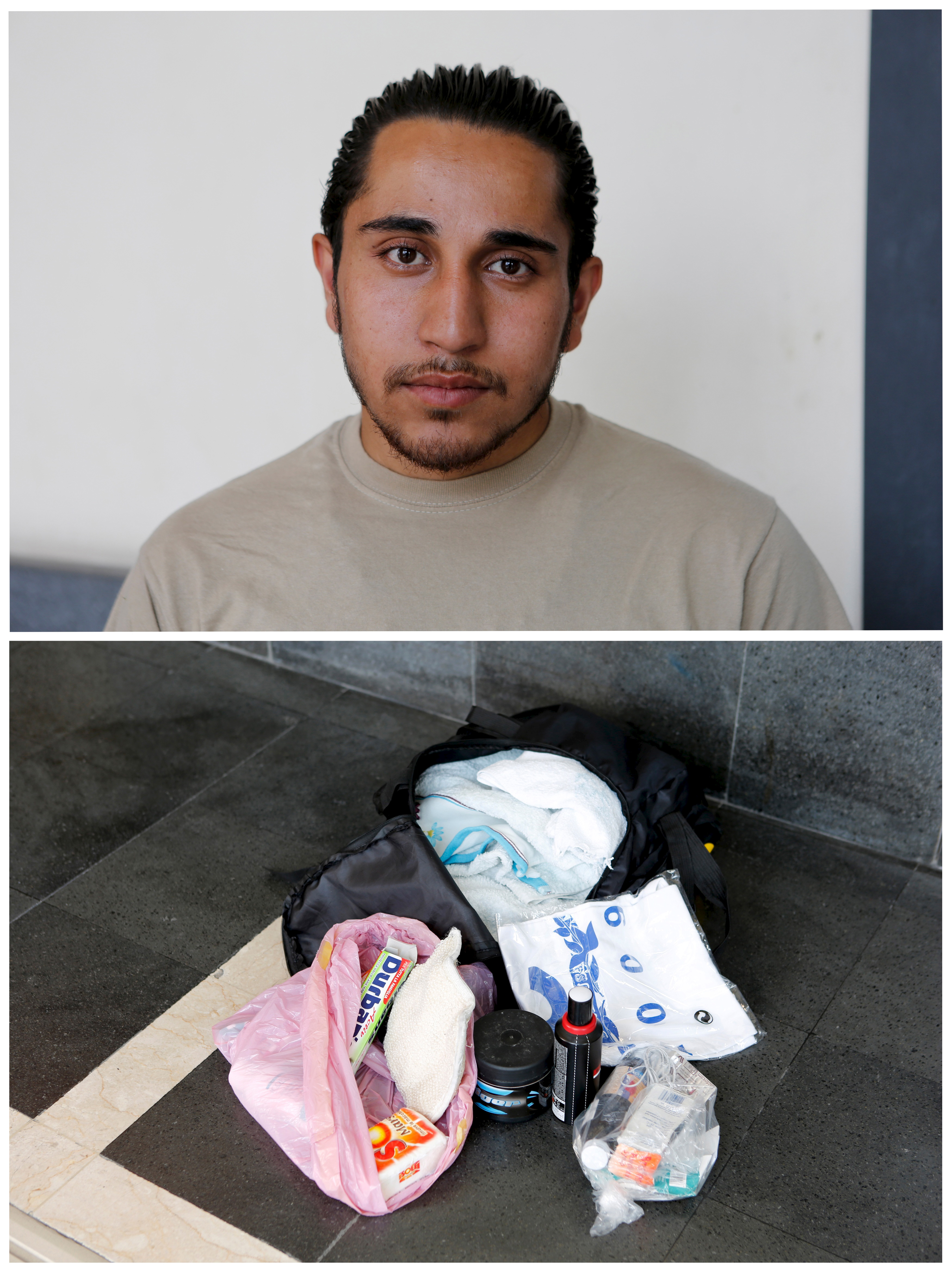 Syrian migrant Feras, 22, and his possessions. He aims to be a computer technician in Germany. Photo by Antonio Parrinello/Reuters