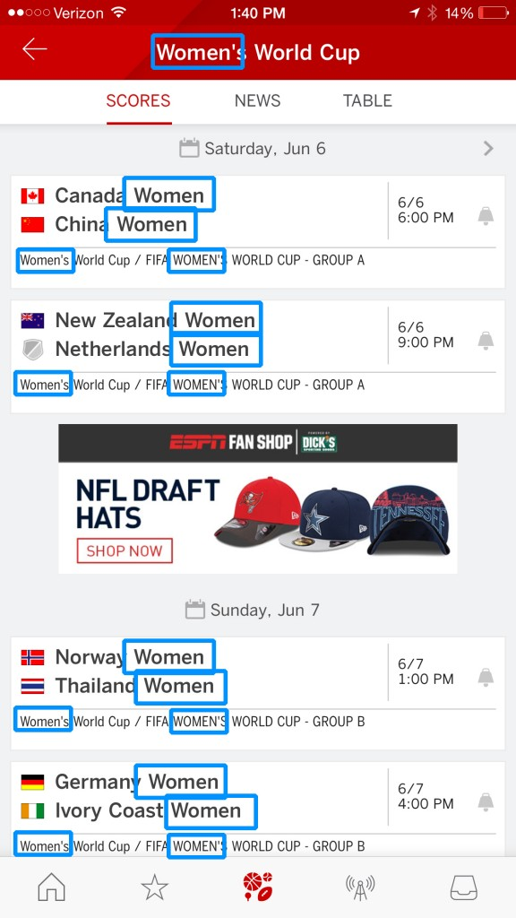 """I'm pretty sure I found the Women's World Cup section since it says the word """"Women"""" 18 times."""