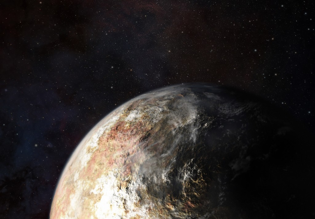 The New Horizons probe will search for signs of clouds or an atmosphere on Pluto, as depicted in this artist's conception. The probe's final course was set on Friday. Illustration by Johns Hopkins University Applied Physics Laboratory.