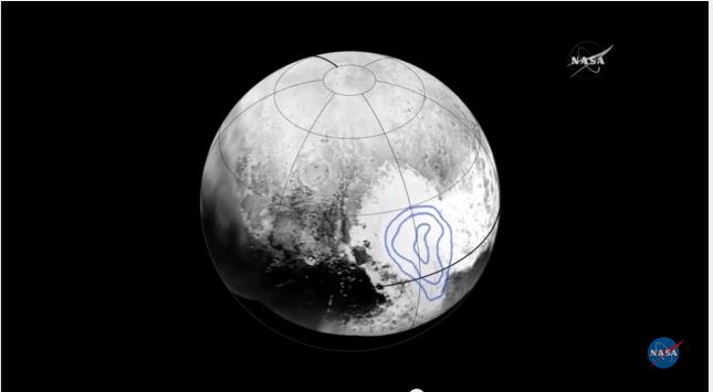 Pluto's heart is filled with frozen carbon monoxide. The location of the icy gas is marked by the blue outline. Photo by NASA/APL/SwRI