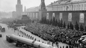 Nato-designated scrag (liquid fueled 3 stage icbm) ballistic missiles during a military parade in red square, moscow, ussr, 1960s. (Photo by: Sovfoto/UIG via Getty Images)