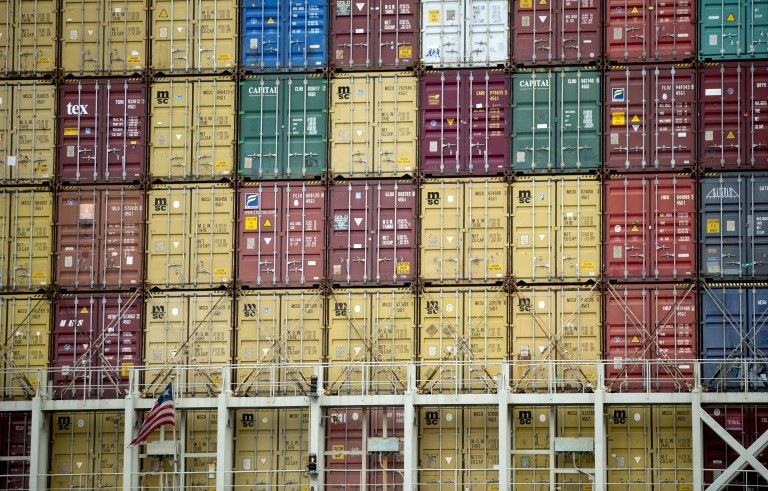 Containers sit at the port of Balitmore. Supporters of the Export-Import Bank argue ceasing lending will make the U.S. less competitive in global markets. Photo by Andrew Harrer/Bloomberg/Getty Images