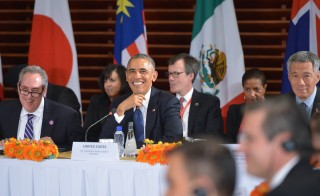 US President Barack Obama smiles during a meeting with leaders from the Trans-Pacific Partnership at the US embassy in Beijing on November 10, 2014.  Top leaders and ministers of the 21-member APEC grouping are meeting in Beijing from November 7 to 11. AFP PHOTO/Mandel NGAN        (Photo credit should read MANDEL NGAN/AFP/Getty Images)