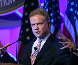 Former U.S. Senator Jim Webb (D) speaks at 'National Sheriffs' Association annual conference June 30, 2015 in Baltimore, Maryland.  Webb is expected to announce soon that he will run for President of the United States. Photo by Mark Wilson/Getty Images