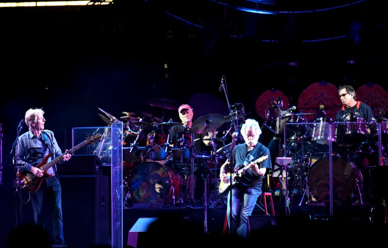 """CHICAGO, IL- JULY 03:  Phil Lesh, Bill Kreutzman, Bob Weir and Mickey Hart of The Grateful Dead perform during the """"Fare Thee Well, A Tribute To The Grateful Dead"""" on July 3, 2015 in Chicago, Illinois. (Photo by Jeff Kravitz/FilmMagic)"""