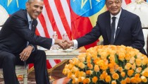 Ethiopian President Mulatu Teshome (R) and US President Barack Obama shake hands during a meeting at the National Palace in Addis Ababa on July 27, 2015.  Barack Obama begins a two-day visit to Ethiopia, the first-ever trip by a US president to Africa's second-most populous nation and the seat of the African Union. AFP PHOTO / SAUL LOEB        (Photo credit should read SAUL LOEB/AFP/Getty Images)