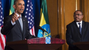 US President Barack Obama (L) speaks during a joint press conference with Ethiopian Prime Minister Hailemariam Desalegn at the National Palace in Addis Ababa on July 27, 2015. AFP PHOTO / SAUL LOEB        (Photo credit should read SAUL LOEB/AFP/Getty Images)